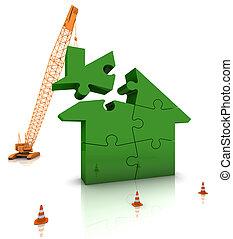 Building a Green Home - Construction site crane building a...