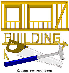 Building a house - Construction of a house wall that shows ...