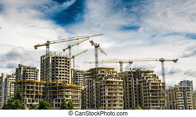 Building a house with six cranes time lapse - Building a...