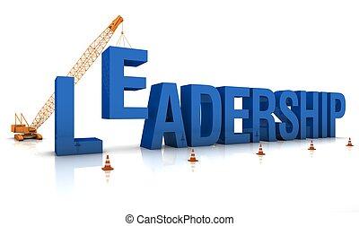 Building a Leadership - Mobile crane building a blue 3D text...