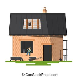 Building a New Family House. Vector Construction Illustration with Bricks and Roof.