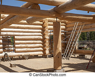 Building a new Log Home - Part of the construction of a new...
