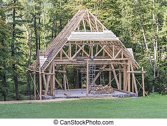 Building a new wooden house.
