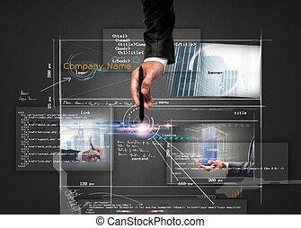 Building a website - Businessman builds a modern website...