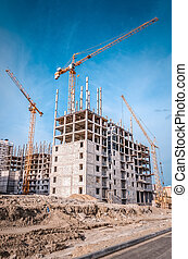 Building activity and high crane