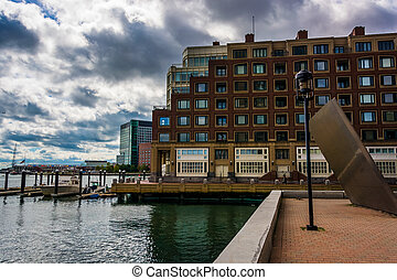 Building along the waterfront in Boston, Massachusetts.