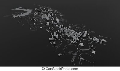 Building an abstract white 3D city
