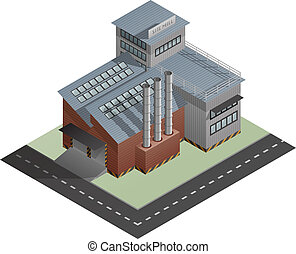 Building - An isometric artwork of an industrial site mill ...