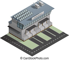 Building - An isometric artwork of an industrial warehouse...