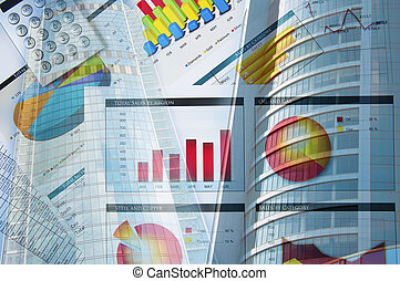 building and business papers, business collage
