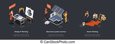 Building And Construction, Electrical Sysytem Service Concept. Property Design And Planning. House Colors For Home Painting, Painting Floor. Compositions In A Set. 3d Isometric Vector Illustration