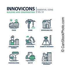 Building and construction line design icons - Building and...