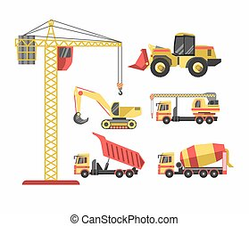 Building and construction machinery equipment vector icons set