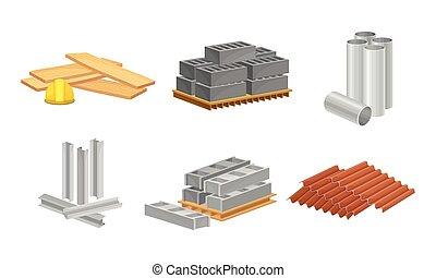 Building and Construction Materials Like Profiled Metal and Blocks Vector Set