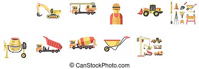 Building and construction vector icons set