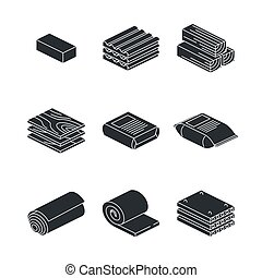 Building and contruction materials icons set on white background