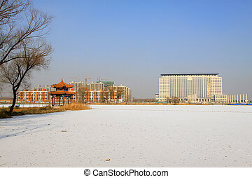 building and pavilion landscape in the snow