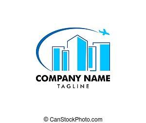 Building and plane logo icon vector