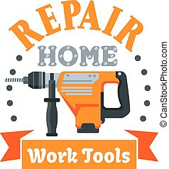 Building and repair tool badge with rotary hammer