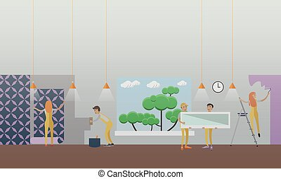 Building and repairing house concept vector illustration in...