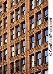 Building Apartment City Reflecting Blue Sky