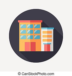 Building apartment flat icon with long shadow, eps10