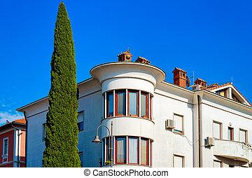 Building architecture in city center of Izola