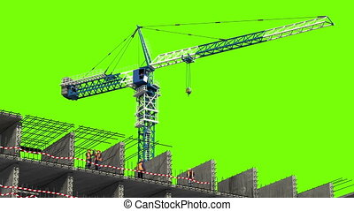 Building area. 3d animation with a green screen. time-lapse