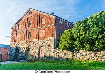 Building at Suomenlinna Sveaborg , sea fortress island in ...
