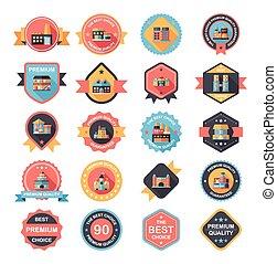 Building badge flat design background set, eps10