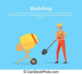 Building Banner Web Design Flat