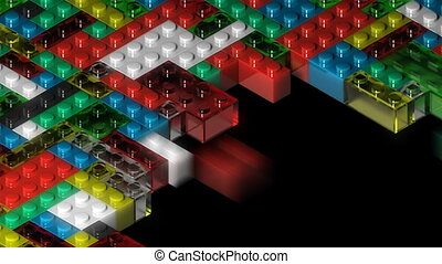 A loop of colorful building blocks streaming onto frame then dropping away. An alpha matte is appended.