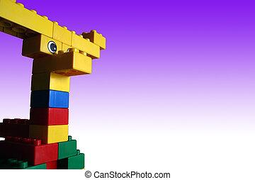 Building Blocks 1c - Child\\\'s Creation, Moose in Purple...