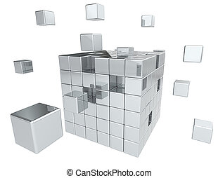 Building Blocks. - Abstract cube assembly. All Metal.