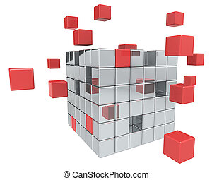 Building Blocks. - Abstract cube assembly. Metal and Red.