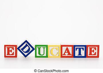 Building blocks. - Alphabet toy building blocks spelling the...