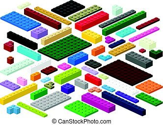 Building blocks and plates for children in vector