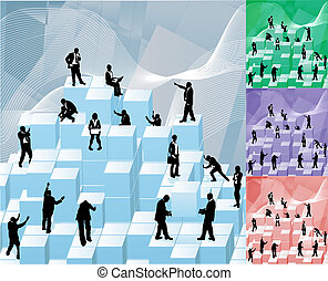 building blocks busniess concept illustration - Conceptual...