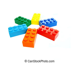 Colorful building blocks display, entertainment for children.
