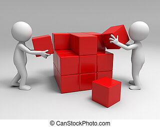 building blocks - Two people are building blocks