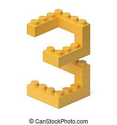 Building blocks font 3d rendering number 3