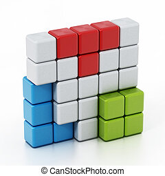 Building blocks forming a cube alltogether. 3D illustration
