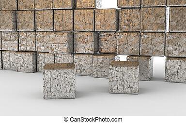 building blocks in scratched aluminum