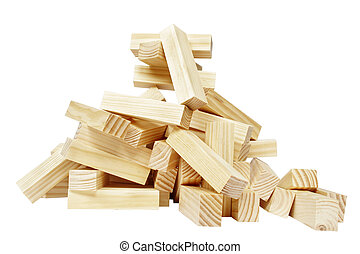 Building Blocks - Isolated pile ofwooden blocks