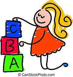 building blocks - little girl building a tower with toy ...