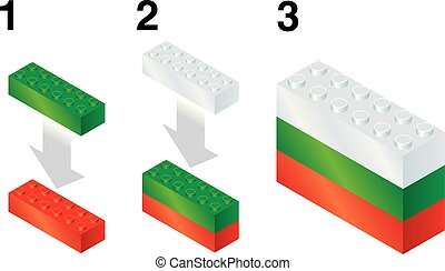 Building blocks making Bulgarian flag