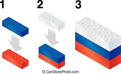Building blocks making Russian flag