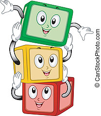 Building Blocks Mascot - Mascot Illustration of a Stack of...