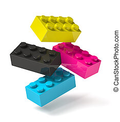 Building blocks of four printing process colors flying 3D