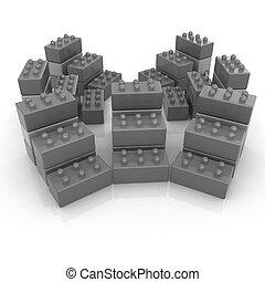 Building blocks on white